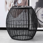 mesh pattern side table black