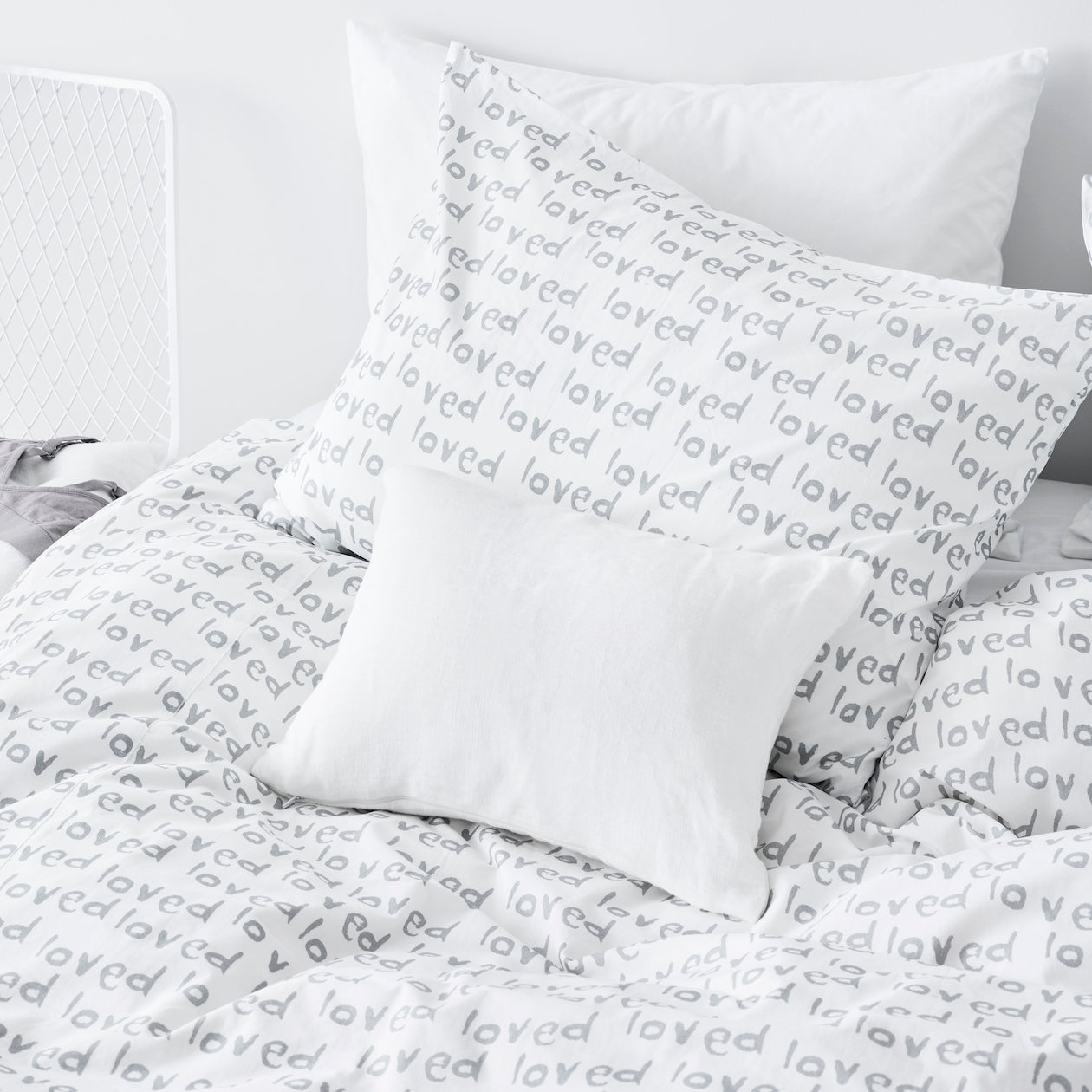 loved print duvet cement