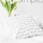 loved print canvas pillow cover cement