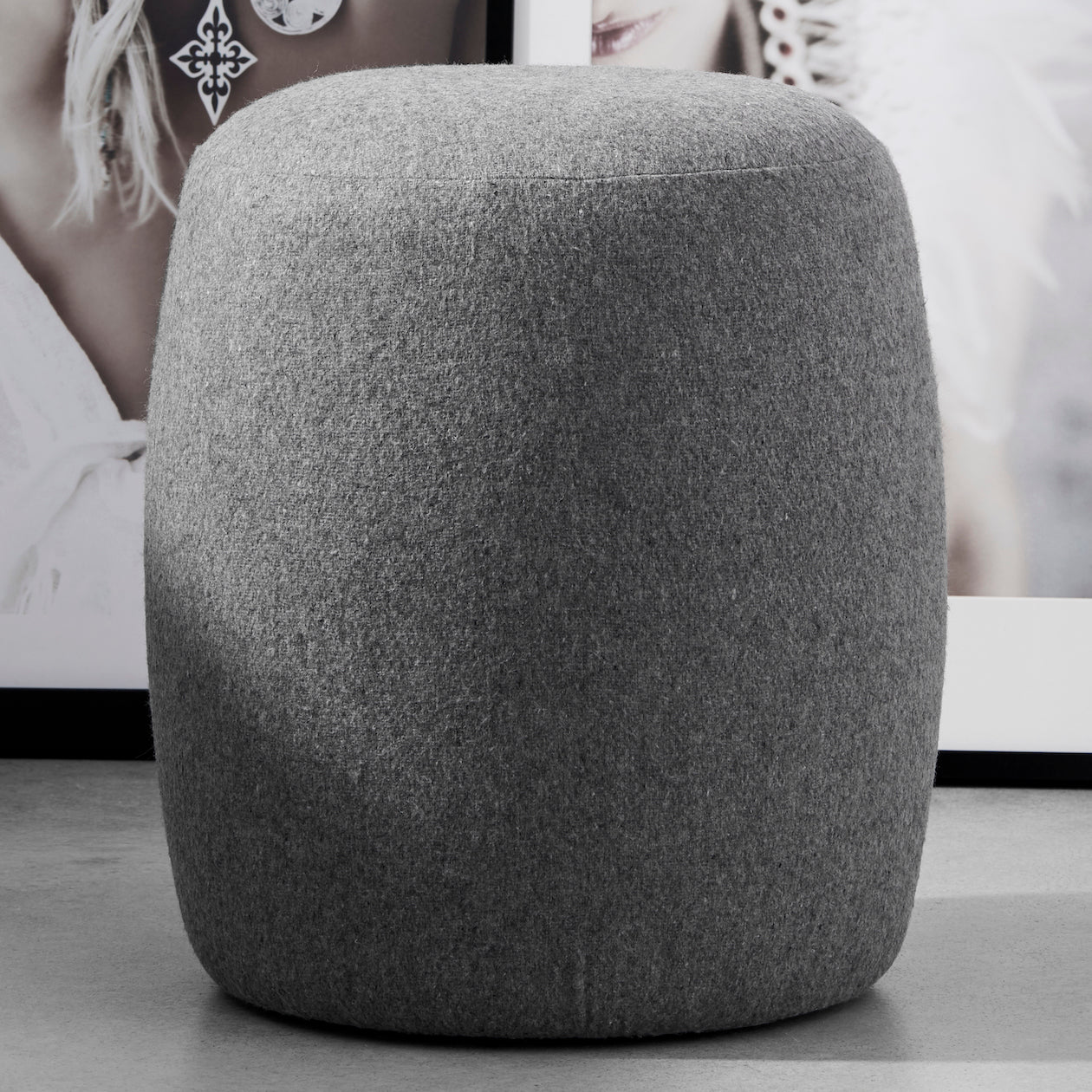 felt stool heather grey