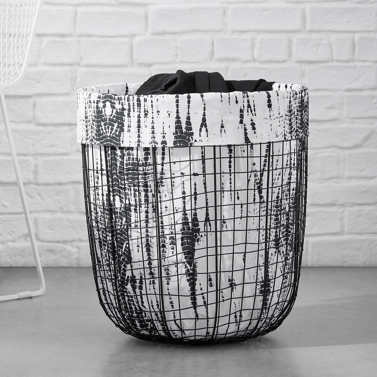 shibori print laundry bag black