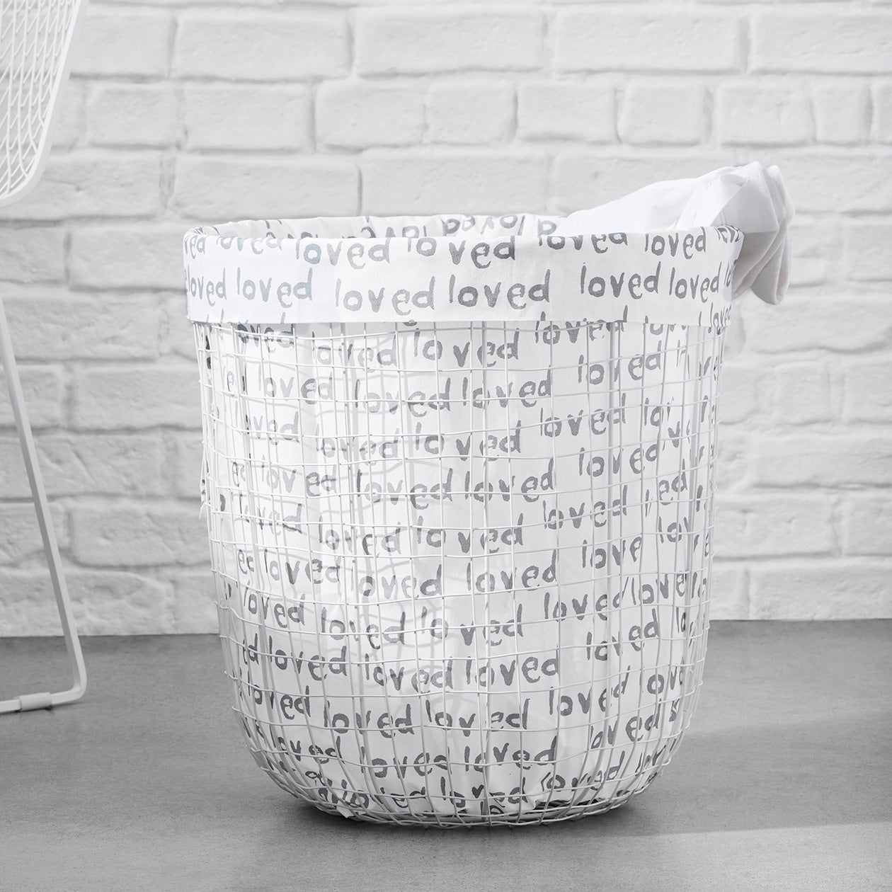 loved print laundry bag cement