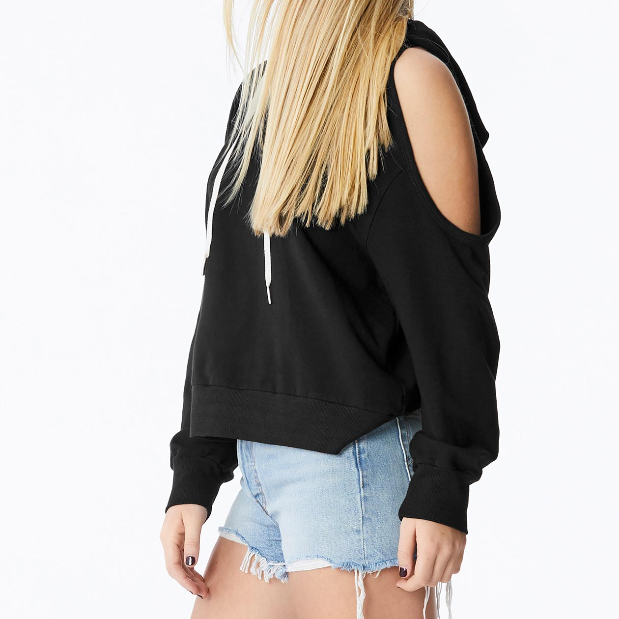 MONROW cold shoulder pullover hoodie in black