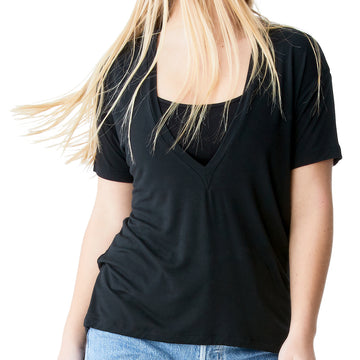Joah Brown – Plunge V-Neck Tee in Black