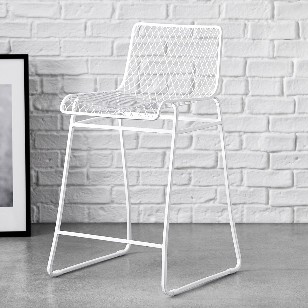 fishnet pattern counter stool white