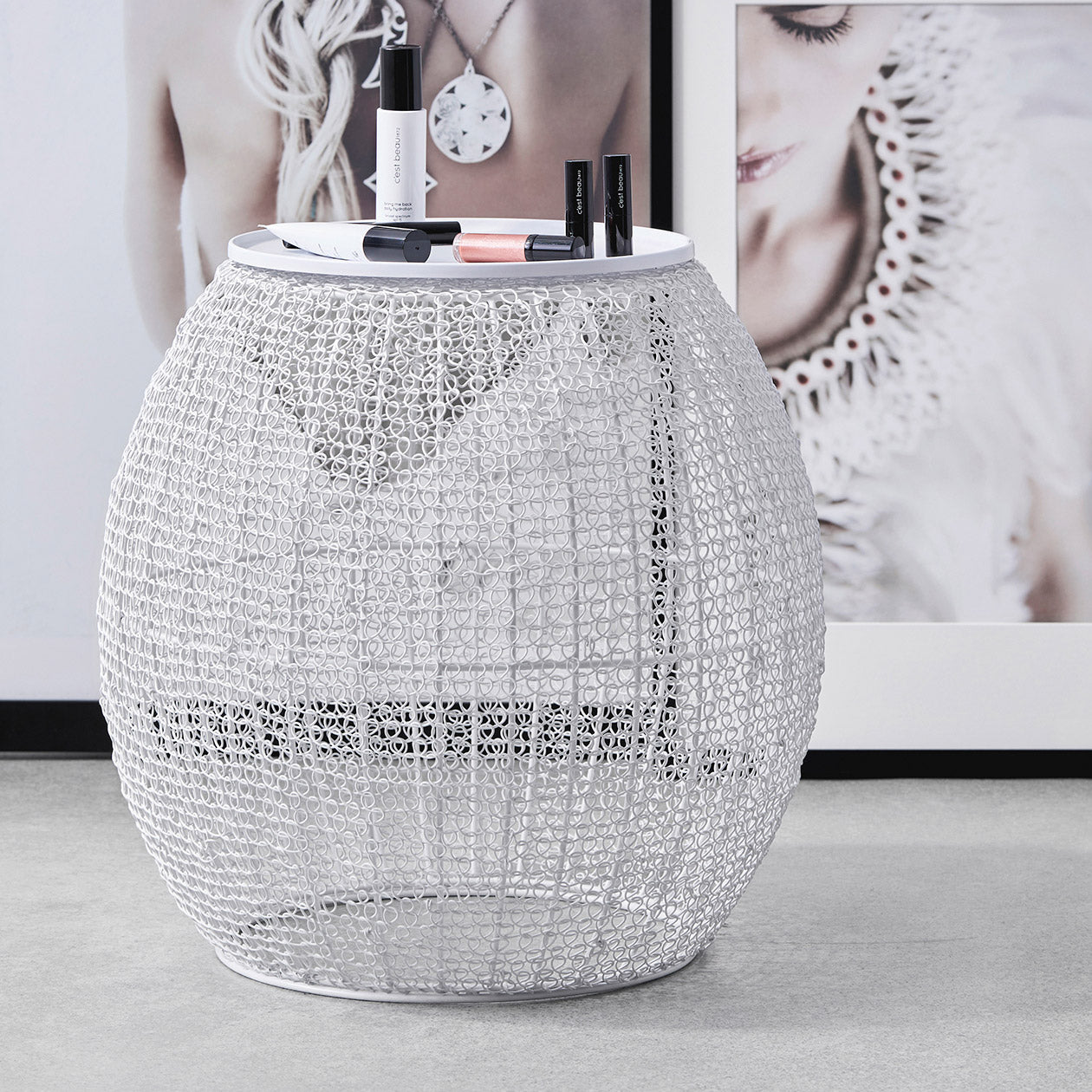 mesh pattern side table white