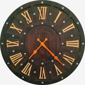 Farmhouse Wood Wall Clock Dark Walnut BSWC081