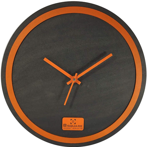 B SQUARE Handcrafted Wooden Wall Clock - Black with Orange Rim Size 12 inch BSWC078O