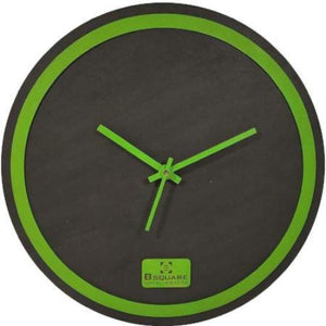 B SQUARE Handcrafted Wooden Wall Clock - Black with Green Rim Size 12 inch BSWC078G