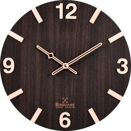 B SQUARE 1 Feet Handcrafted Wooden Wall Clock Dark Brown BSWC029