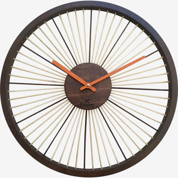 B SQUARE Wheel of Time Large Size Wood and Bamboo Wall Clock BSWC089 Size: 16inch