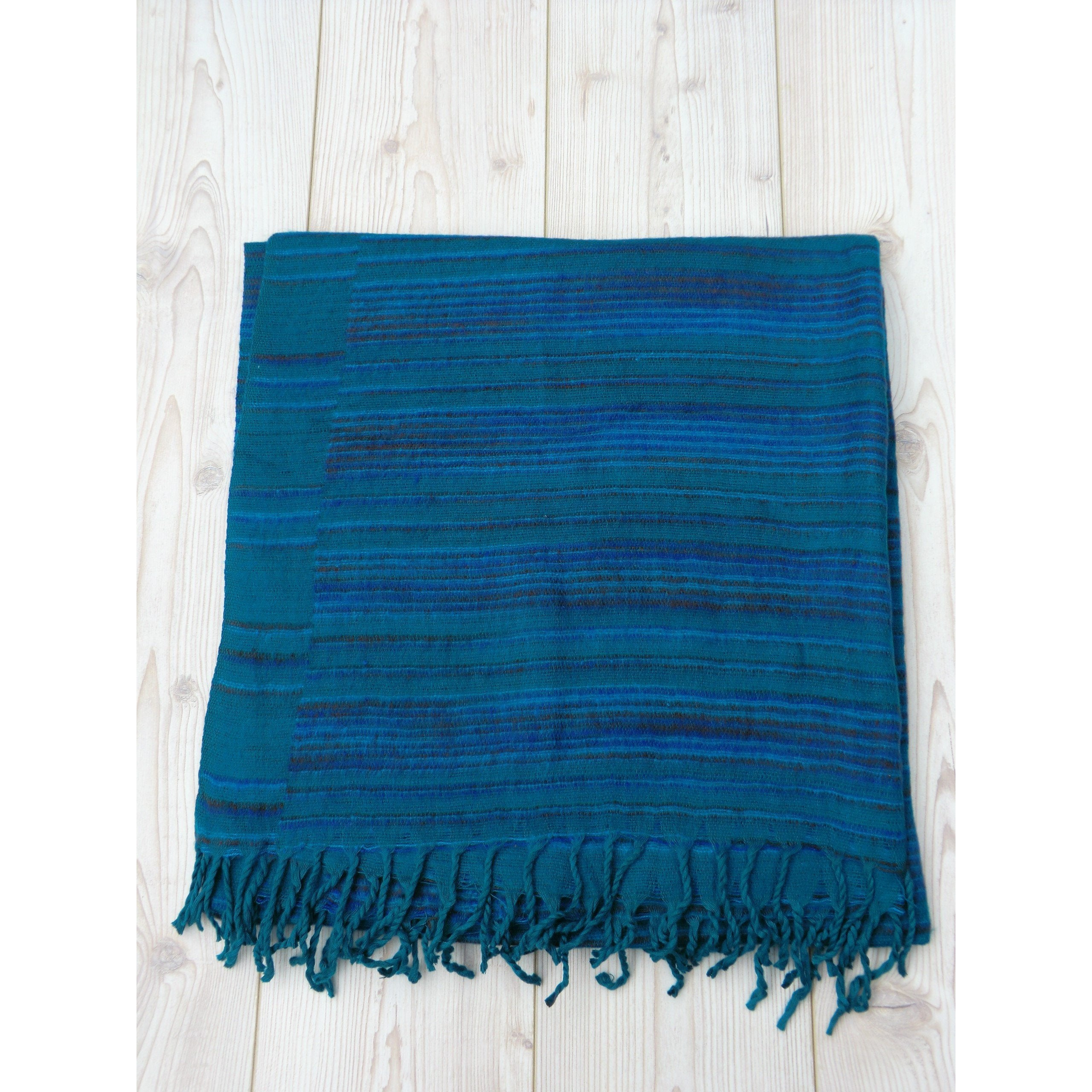 Sea Green Stripey Blanket - Matico