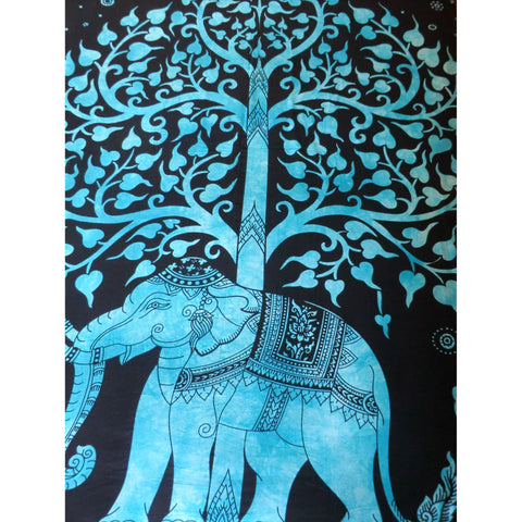 Turquoise Elephant/ Tree of Life Throw