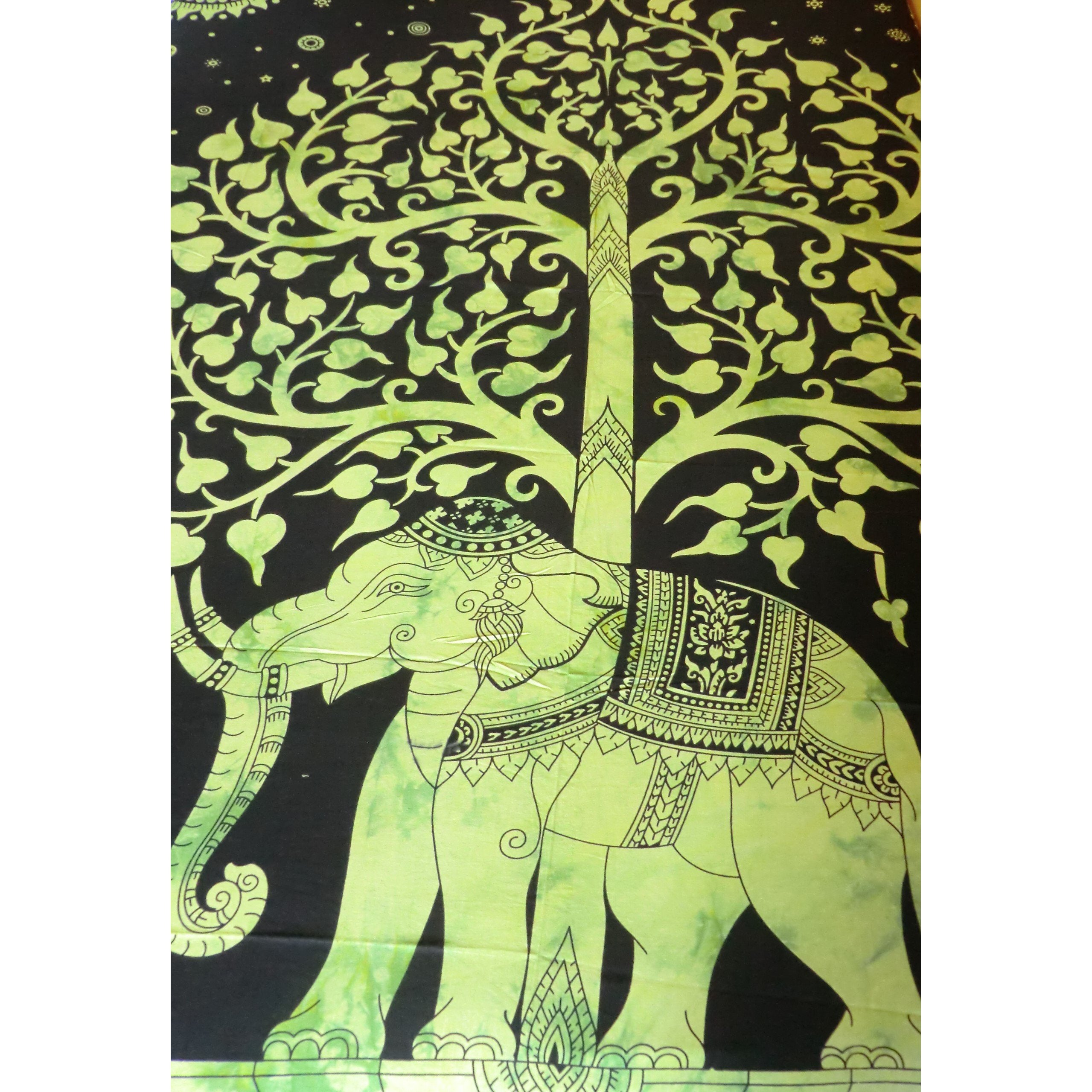 Green Elephant/Tree of Life Throw - Matico