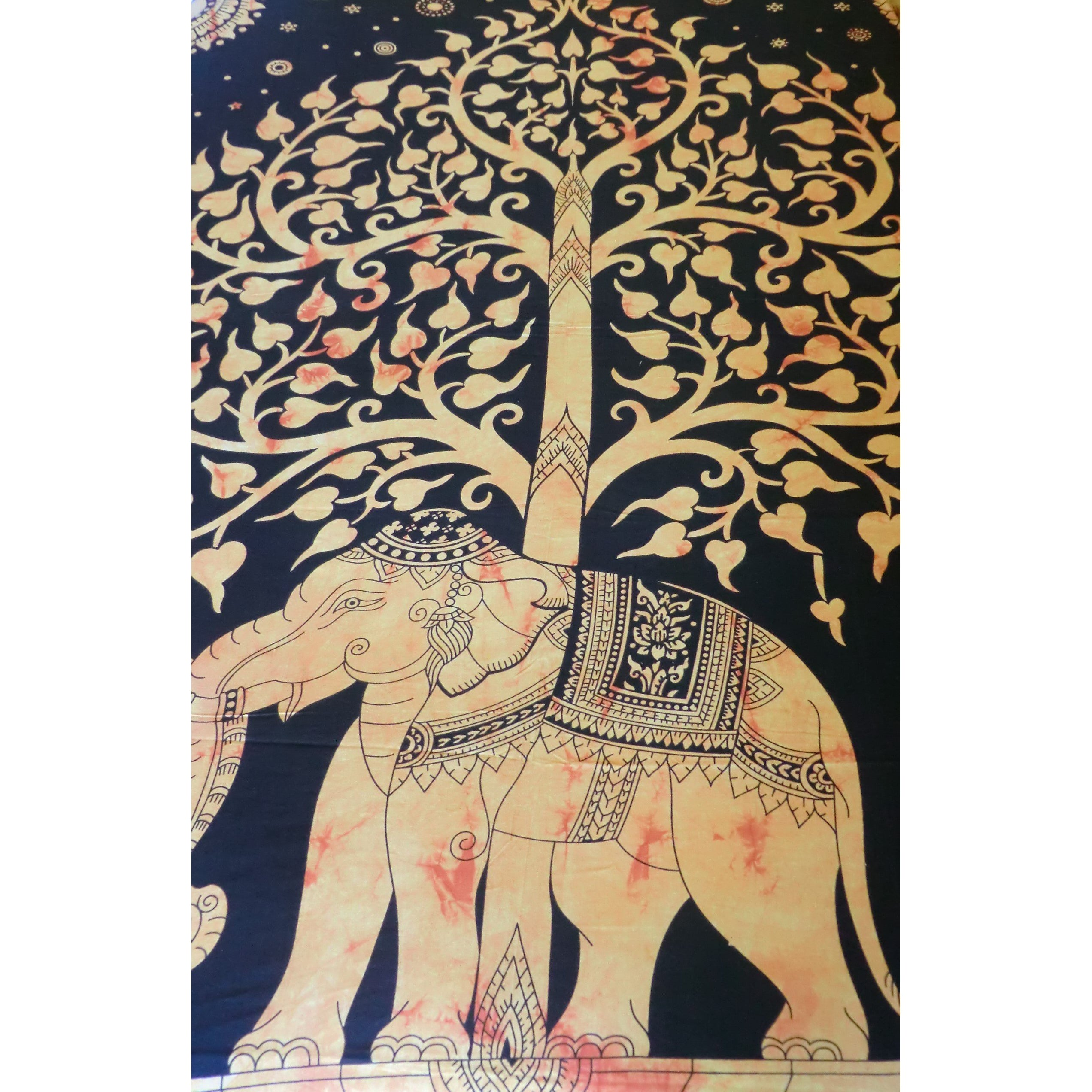 Burnt Orange Elephant/ Tree of Life Throw - Matico