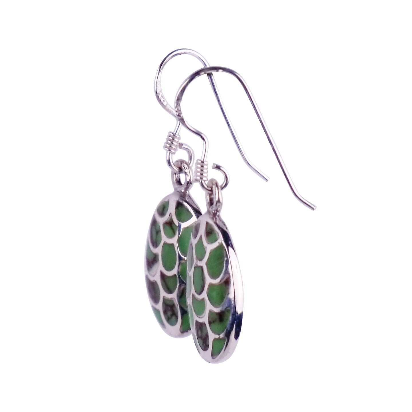 Silver Earrings with Fishscale effect Howlite Stone - Matico
