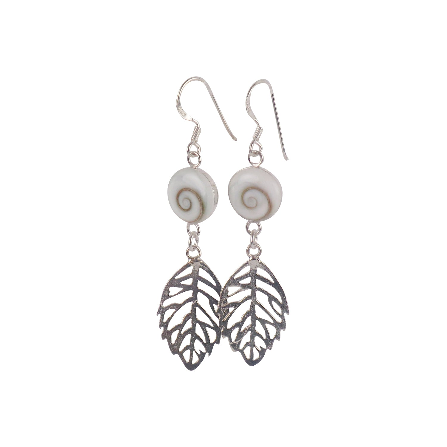 Round Stone with Silver Leaf Earrings - Matico