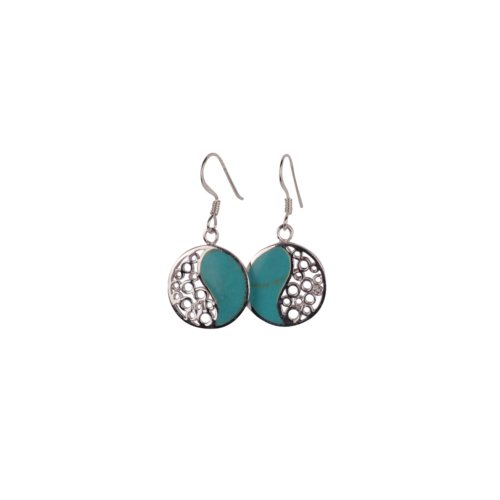 Round Earrings in Ying Yang Shape - Matico