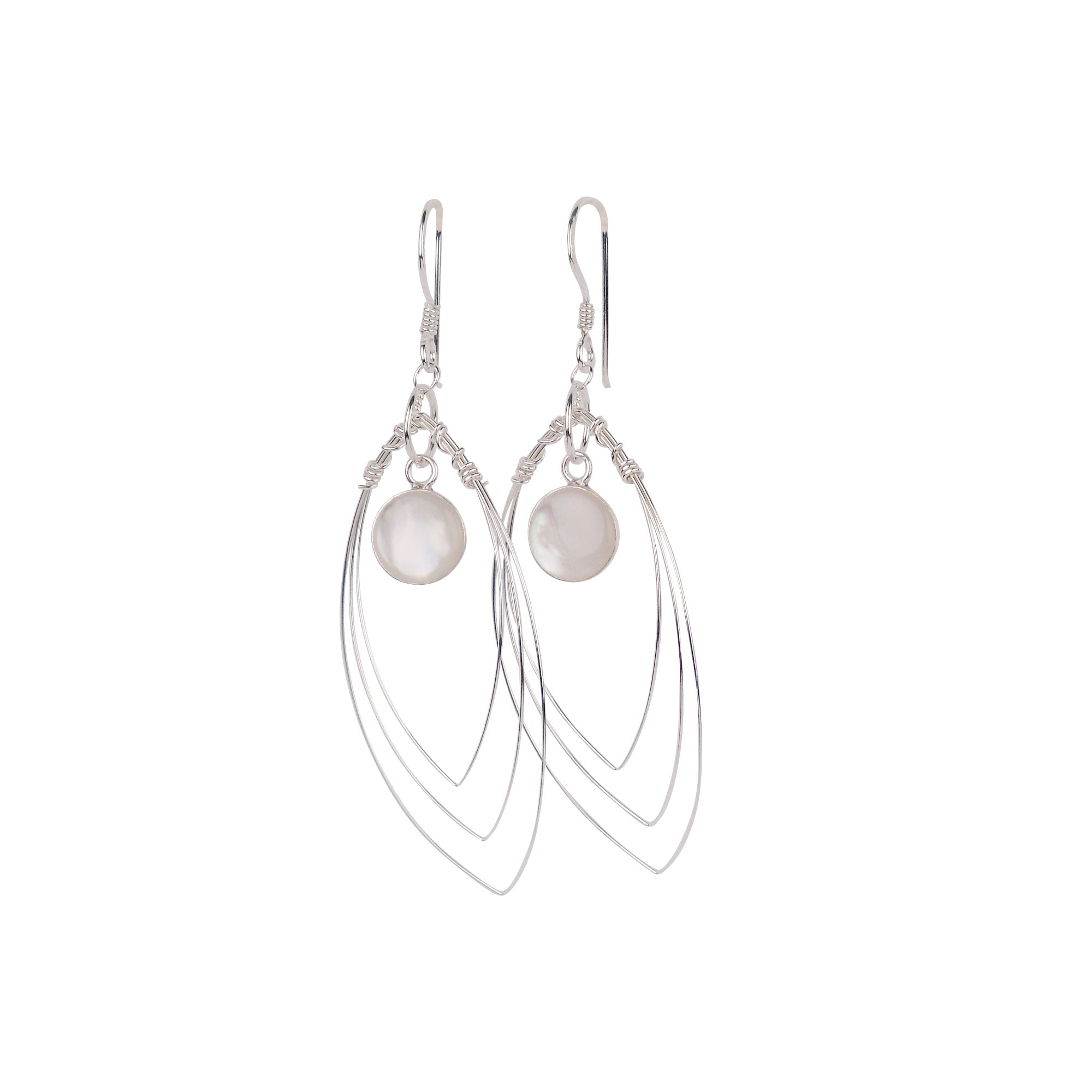Sterling Silver Wire Earrings with Stone - Matico