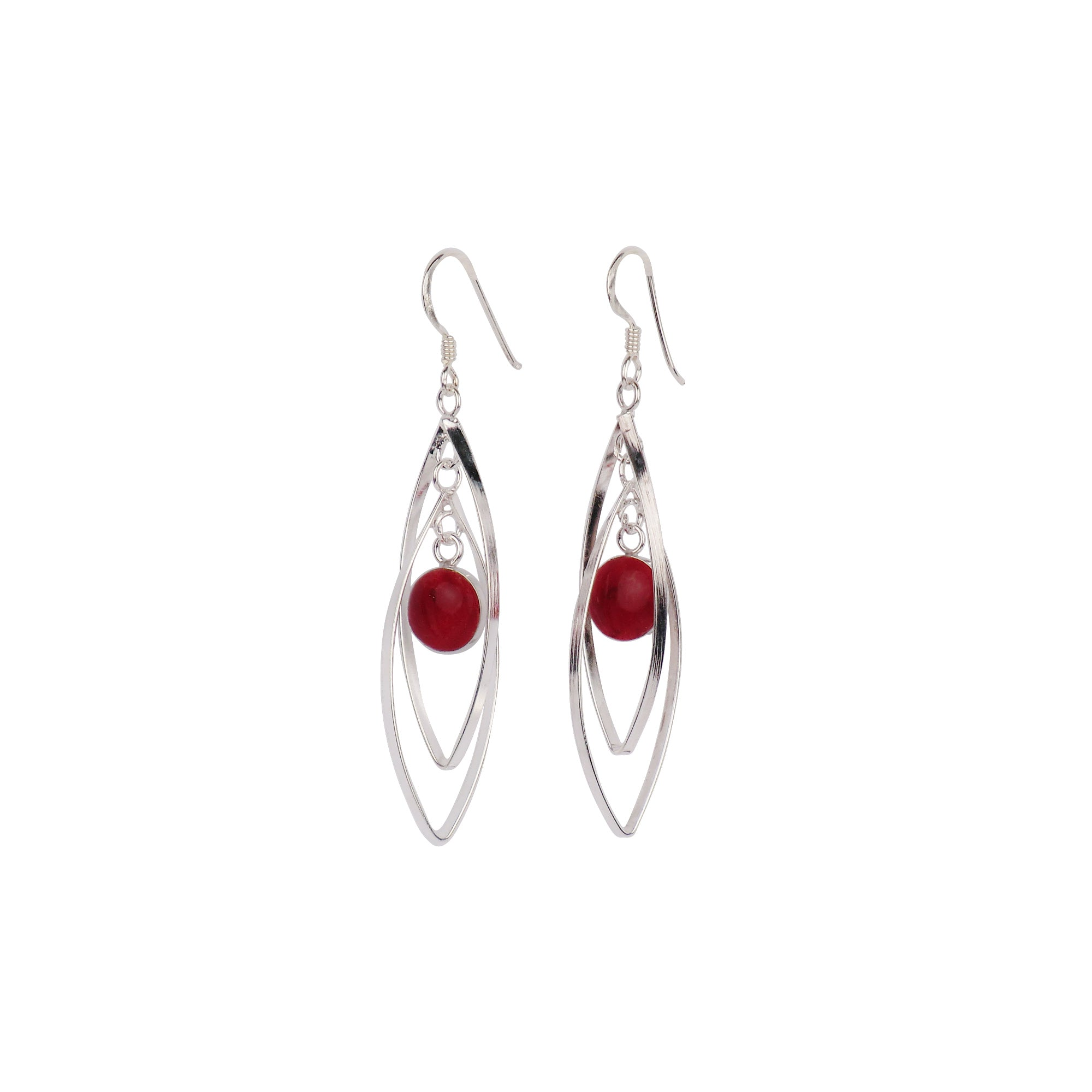 Sterling Silver Dangly Earrings with Stone - Matico