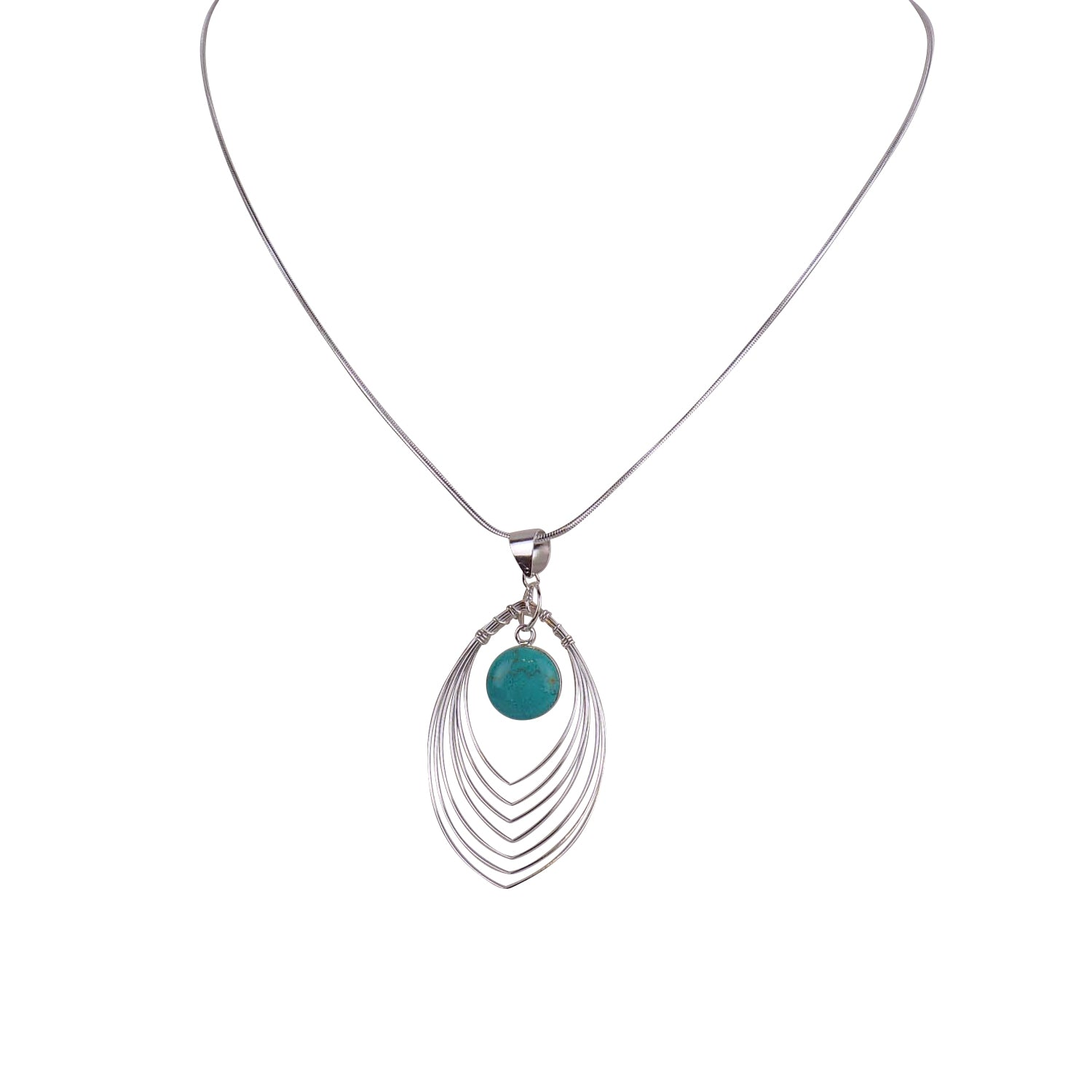 Sterling Silver Wire Pendant with Stone