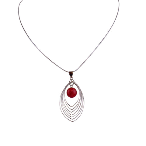 Sterling Silver Wire Pendant with Stone - Matico