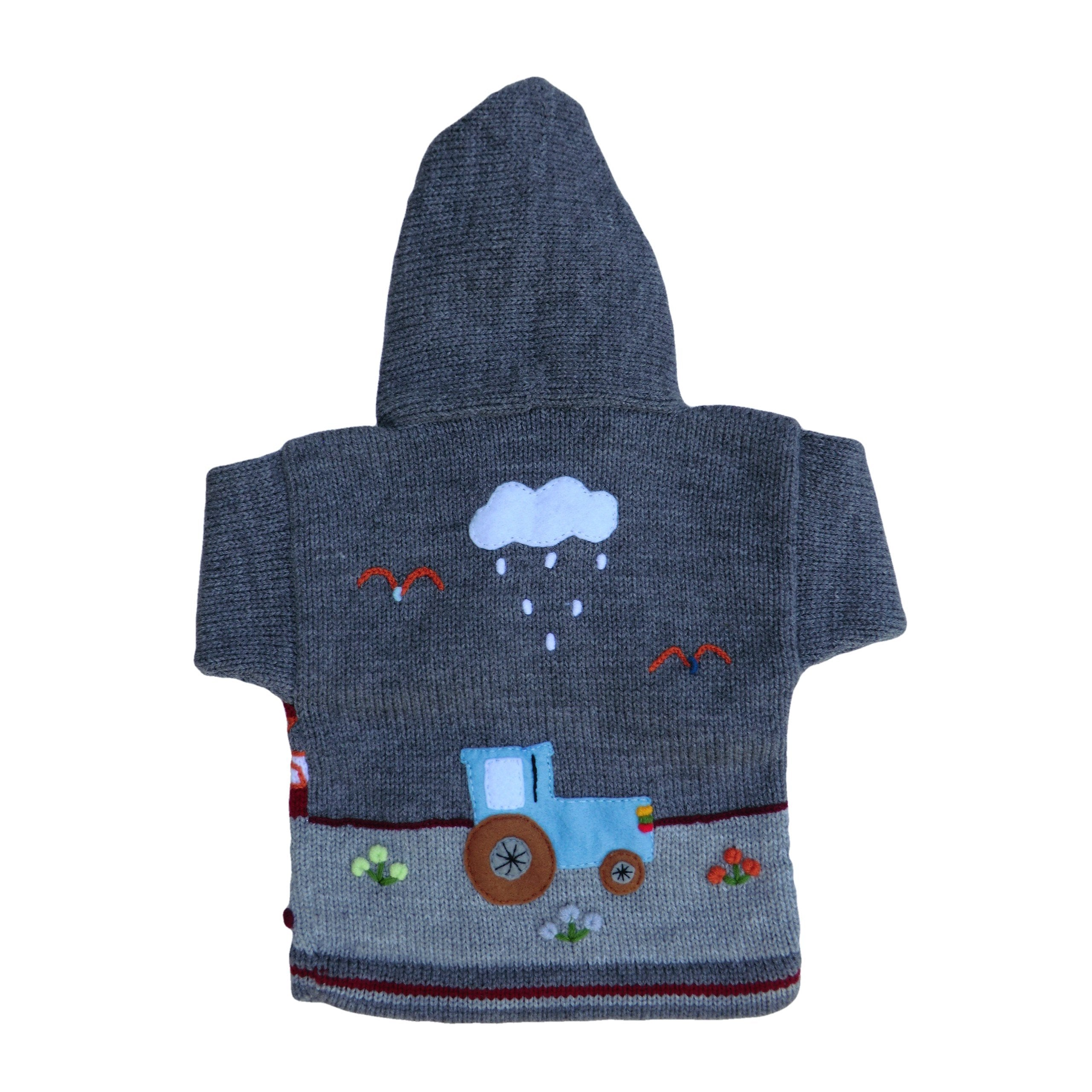 Children's Grey Cardigan - Farmyard - Matico