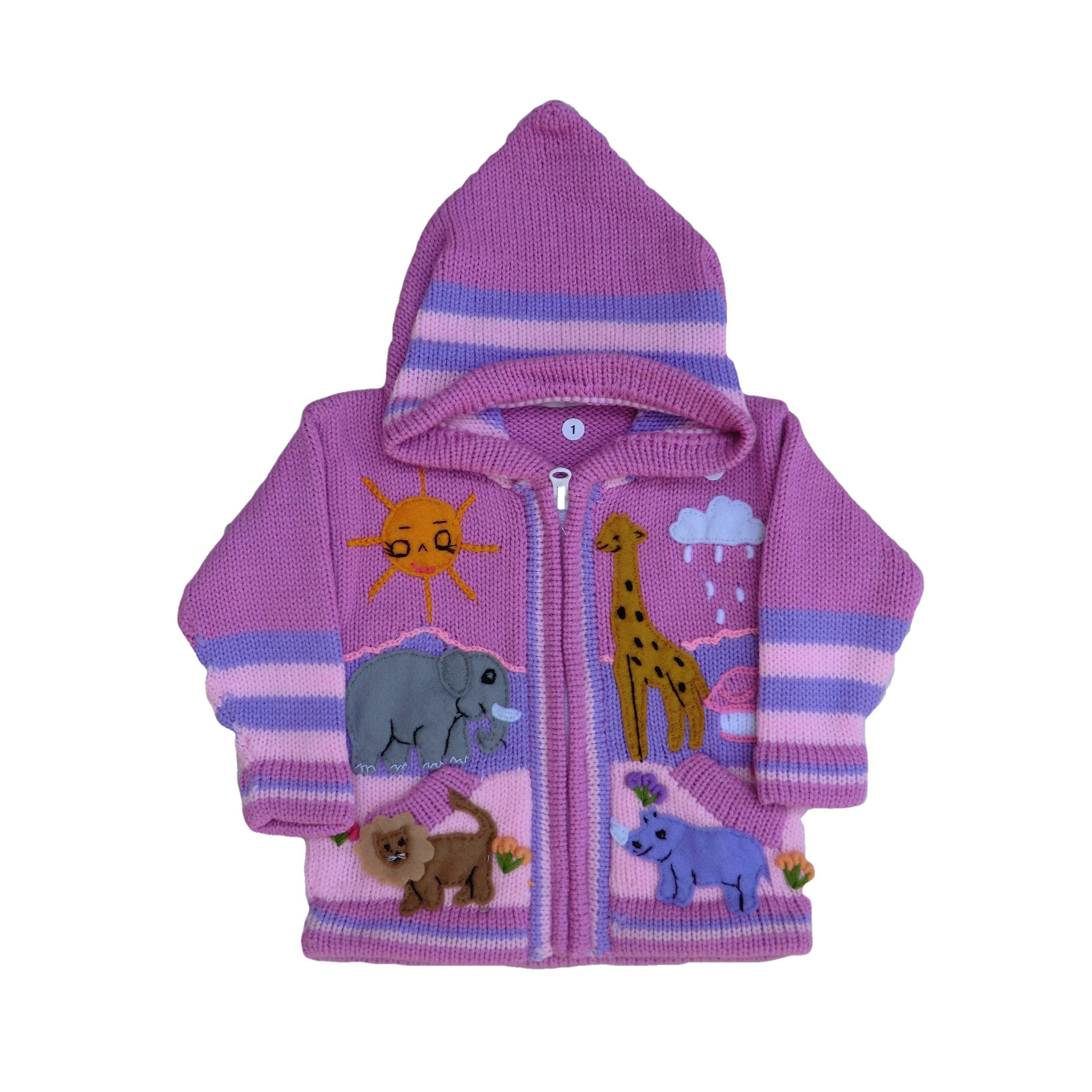 Children's Pink Cardigan - Safari - Matico