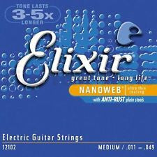 Elixir Nanoweb 12102 coated medium electric guitar strings 11-49 (2 PACKS)