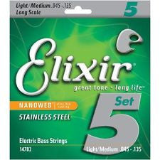 Elixir 14782 Nanoweb coated stainless steel 5 string bass guitar set 45-135