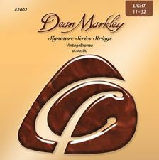 Dean Markley signature series 2002 vintage bronze acoustic guitar strings 11-52  (3 PACKS)