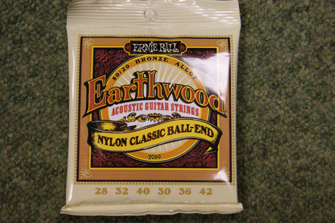 Ernie Ball 2069 Earthwood bronze and nylon classic ball end acoustic guitar strings