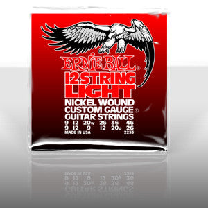 Ernie Ball 2233 custom 9 gauge 12 string nickel wound set with a wound 3rd 20 gauge string (2 packs)