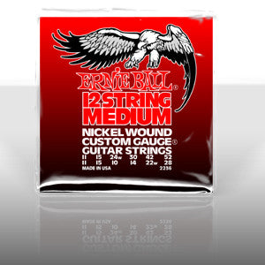 Ernie Ball 2236 custom gauge 12 string nickel wound set with a wound 3rd 24 gauge string (2 packs)