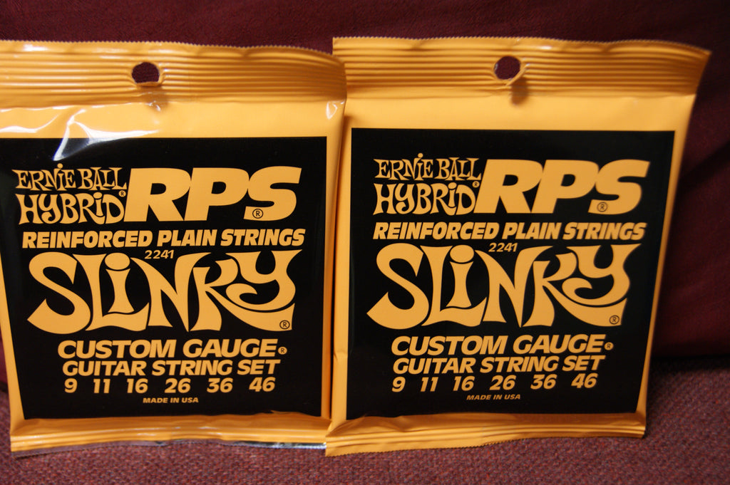 Ernie Ball 2241 Hybrid Slinky 9-46 reinforced plain nickel custom gauge strings (2 PACKS)