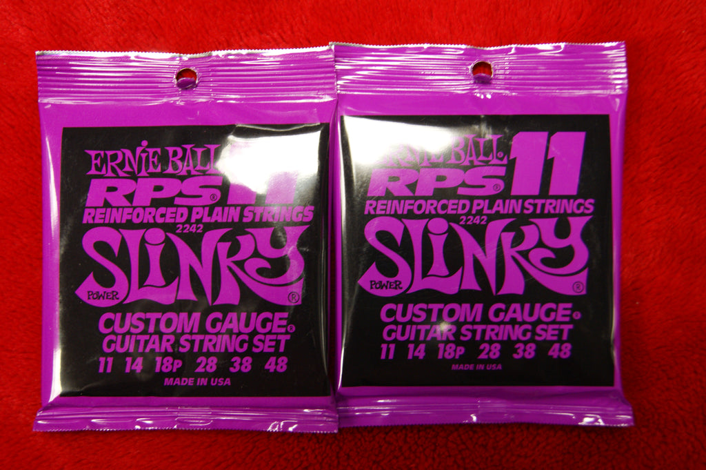 Ernie Ball 2242 Power Slinky 11-48 reinforced plain nickel custom gauge strings (2 PACKS)