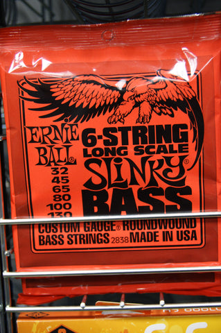Ernie Ball 2838 super long scale slinky bass 6 guitar strings 32-130