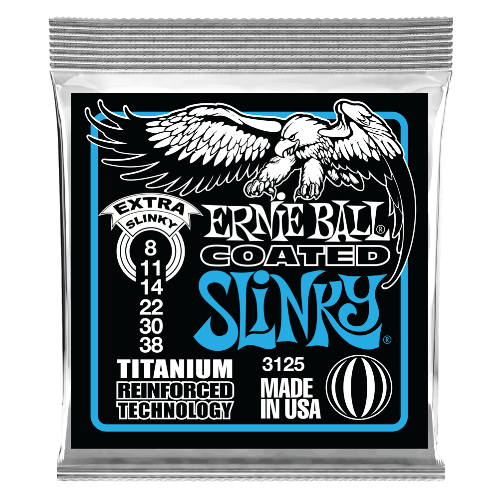 Ernie Ball 3125 Extra Slinky 8-38 coated electric guitar strings titanium reinforced