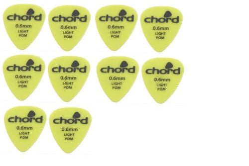 Pack of 10 plectrums .6mm thickness by Chord