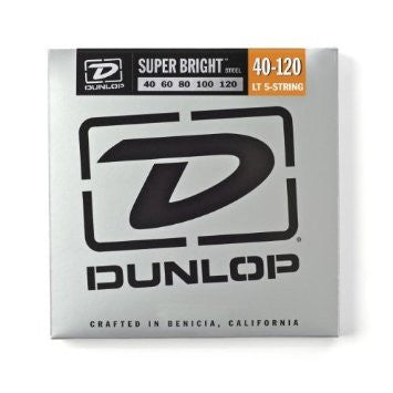 Dunlop DBSBS40120 super bright stainless steel 40-120 medium 5 string bass guitar strings