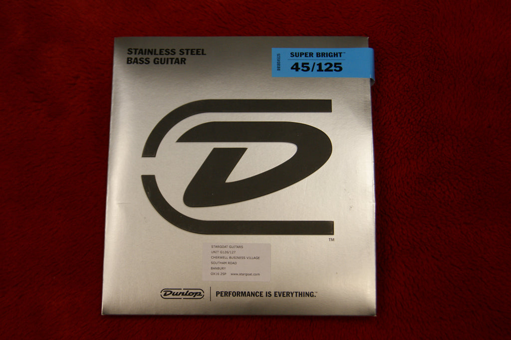 Dunlop DBSBS45125 super bright stainless steel 45-125 medium 5 string bass guitar strings