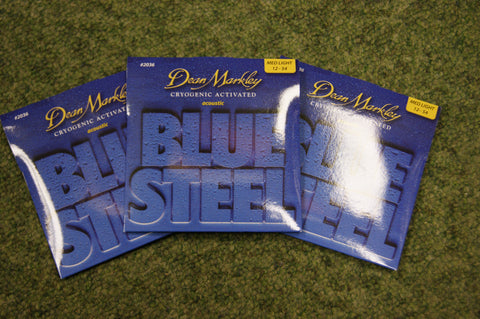Dean Markley 2036 Blue Steel 12-54 bronze acoustic guitar strings (3 PACKS)