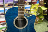 Ovation CC024 electro acoustic guitar in quilted aqua finish - Made in Korea S/H