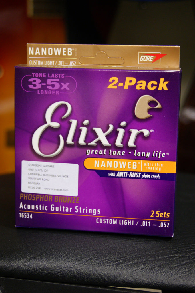 Elixir 16534 Nanoweb 11-52 twin pack light acoustic guitar strings