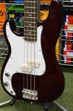 Johnson left handed bass guitar in wine red finish
