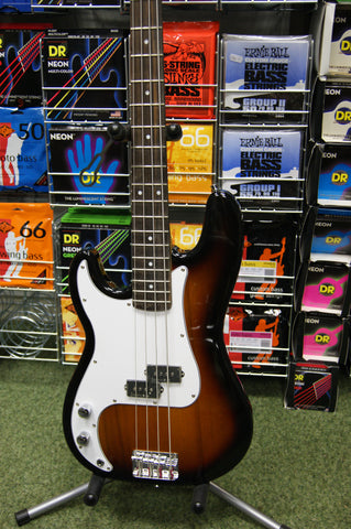 Johnson left handed bass guitar in sunburst finish
