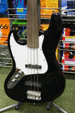 Johnson left handed fretless bass guitar in black