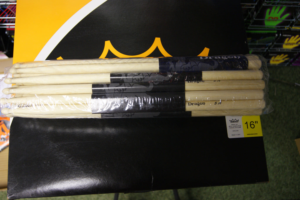 Dragon 5A wood tipped drum sticks (12 pairs)