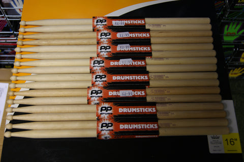 Performance percussion 5A drum sticks wood tipped (8 PAIRS)
