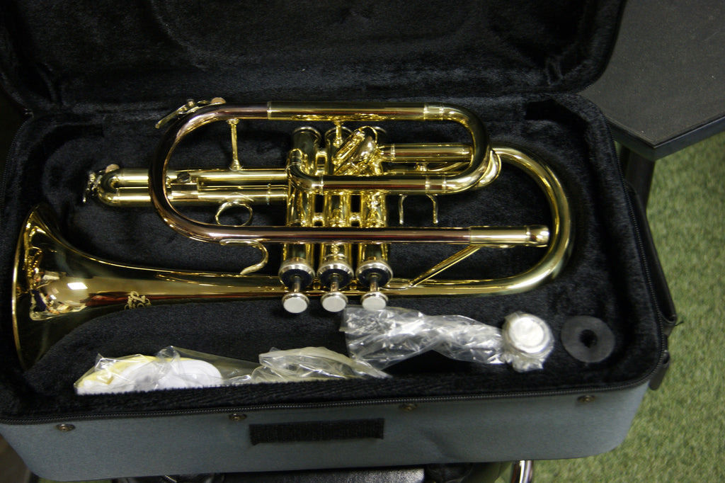 J Michael Cornet outfit in gold lacquer finish